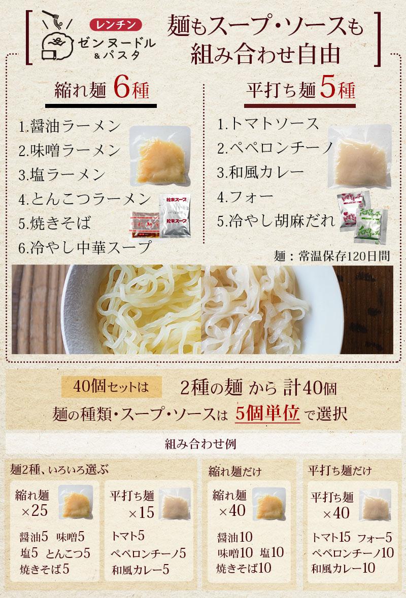 選べる40個セット 麺もスープも選べますセット 生タイプこんにゃく麺 縮れ麺3種(醤油ラーメン、味噌ラーメン、塩ラーメン)、平打ち麺2種(トマトソース、ぺペロンチーノ)です
