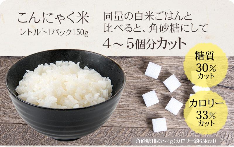 同量の白米ごはんと比べると、角砂糖にして 4~5個分カット